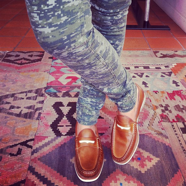 Rag & Bone camo print jeans and loafers - the perfect look for laid back cool!