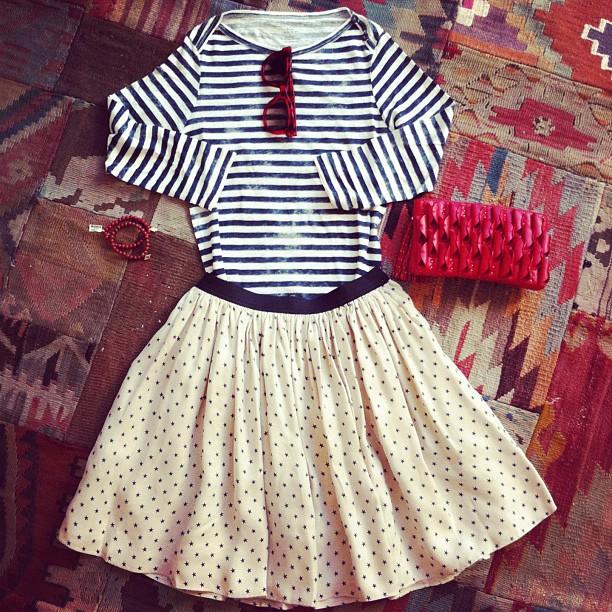 So Frenchy, so chic! - Majestic tee - Thierry Lasry shades - Sea NY skirt -Lara Bohinc clutch - Sydney Evan bracelets