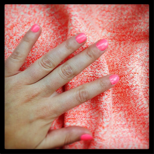 The gorgeous Alex's cute nail-skirt combo. Pretty in pink skirt by SEA NY!