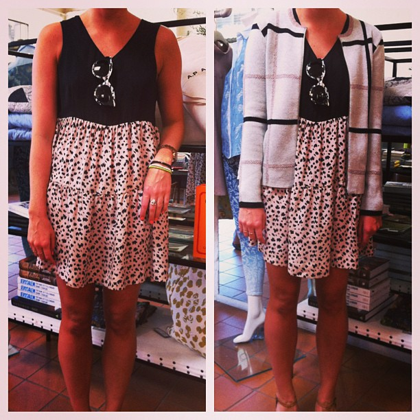 Outfit of the day: not so much an outfit as the easiest Summer dress EVER! Add a pair of Thierry Lasry shades and you're good to go. Oh, and we know you can't even think about layering in this heat, but here's a sneak peek of our new Grace Winter '13 knit cardigan - the best way to get extra mileage out of a sundress! (at Grace)