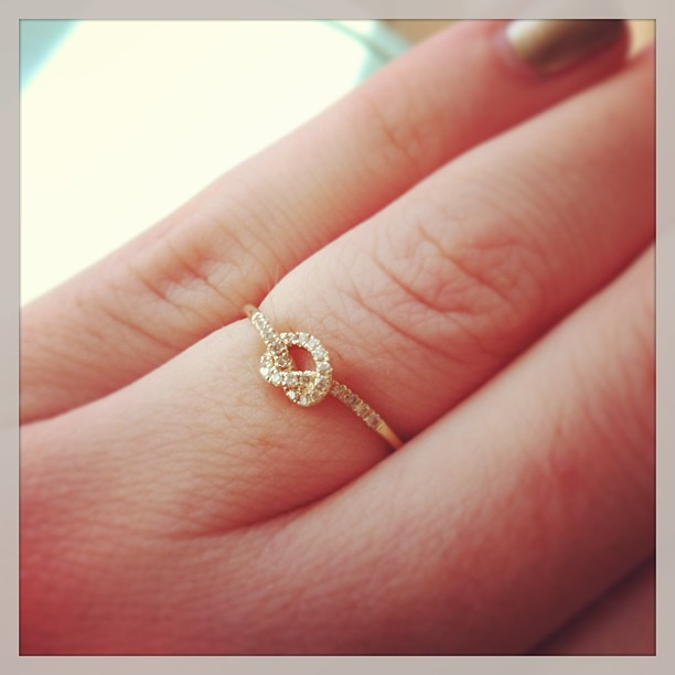 Sydney Evan love knot in 14 carat gold with diamond knot! Too beautiful for words!
