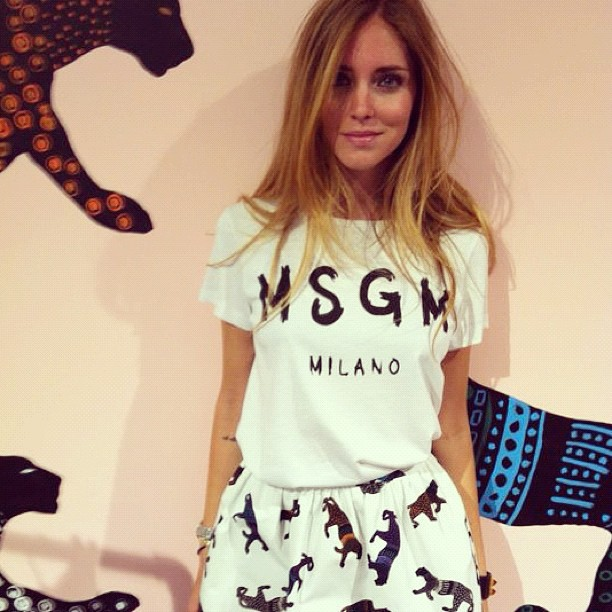 Chiara Ferragni AKA    The Blonde Salad    in head to toe MSGM - We could not be more excited for this amazing label to arrive at    GRACE   !