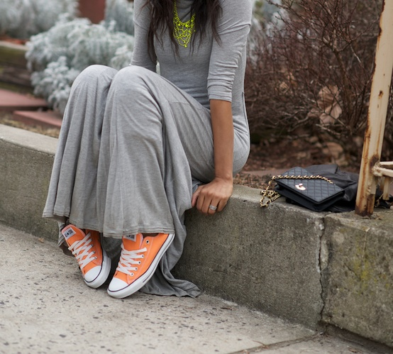 Love this cute street style pic of jersey maxi with coloured Cons - The perfect relaxed weekend look!