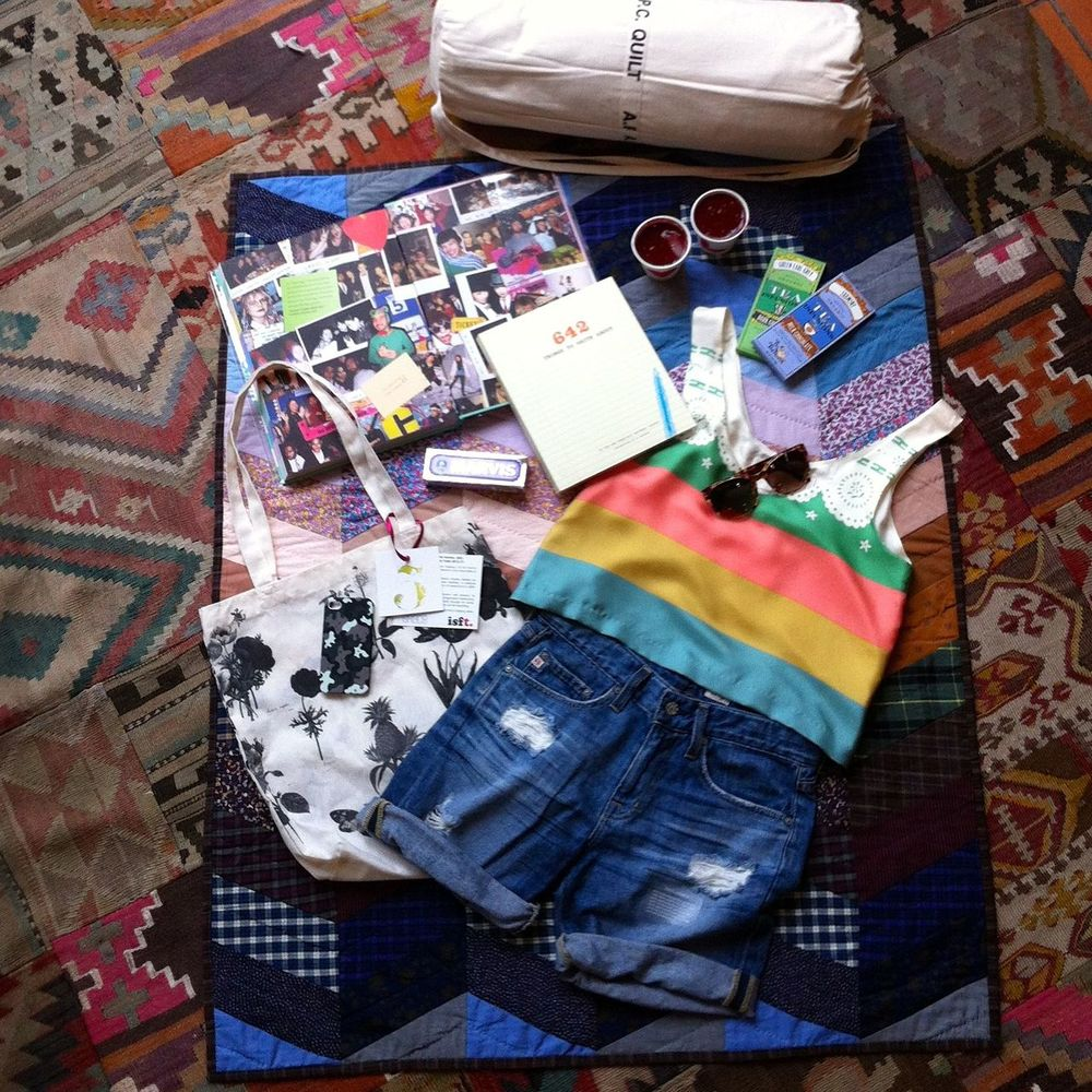 Summer festival season is here!  Here's what we'll be taking… - AG Boyfriend Shorts - Lauren Moffatt Tank - Thierry Lasry Sunnies - A.P.C Quilts - Grace cammo print iPhone case and charity tote bags (all proceeds from the totes go to i ski for tommy. - Assorted books, chocolate and toothpaste!