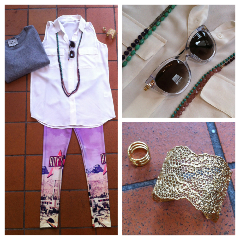 Outfit of the day: We are Handsome leggings, Equipment shirt, Thierry Lasry sunnies, Samantha Moses necklaces and Aurelie Bidermann cuff and ring.  Also a Vaille cashmere just in case - you never know with this crazy Melbourne weather!