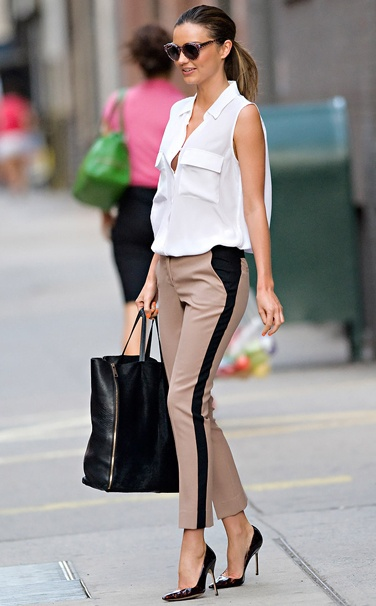 Love this look on super babe Miranda Kerr. The Equipment sleeveless signature shirtis available in-store now! equipment-fr:
