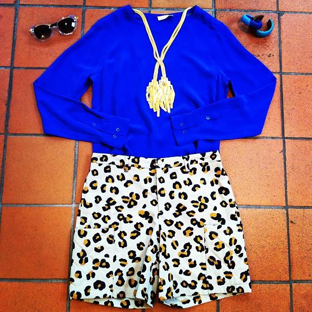 Outfit of the day: brilliant blueEquipment tee, APC leopard shorts, Aurelie Bidermann necklace, DanniJo stingray cuffs and Thierry Lasry shades!