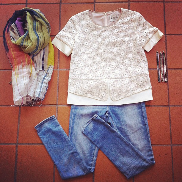 Our outfit of the day: Sea NY top, AG jeans, Epice scarf and a DanniJo arm party!
