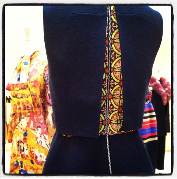Carven back details - love this print peeking through!