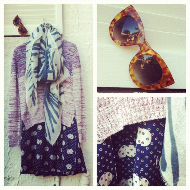 Outfit of the day: Sea NY dress, Grace knit, Virginia Johnson scarf and Thierry Lasry sunnies - our ideal outfit for a sunny Melbourne day… take some layers off as it heats up! (Taken with  Instagram  at Grace)