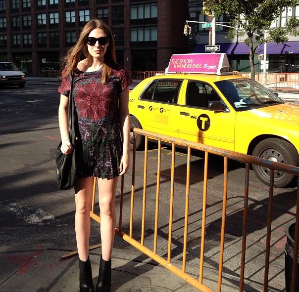 GRACE girl Jen rocking the SEA NY pleated mini dress in New York - What a babe!
