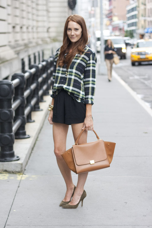 Love this look! Samantha Hutchinson in Equipment plaid. Only two left at Grace!