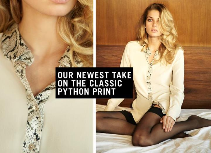 We adore this python collared shirt on the latest 'face' of Equipment - Jess Hart!  This baby is in store now, and we are completely in love with it!