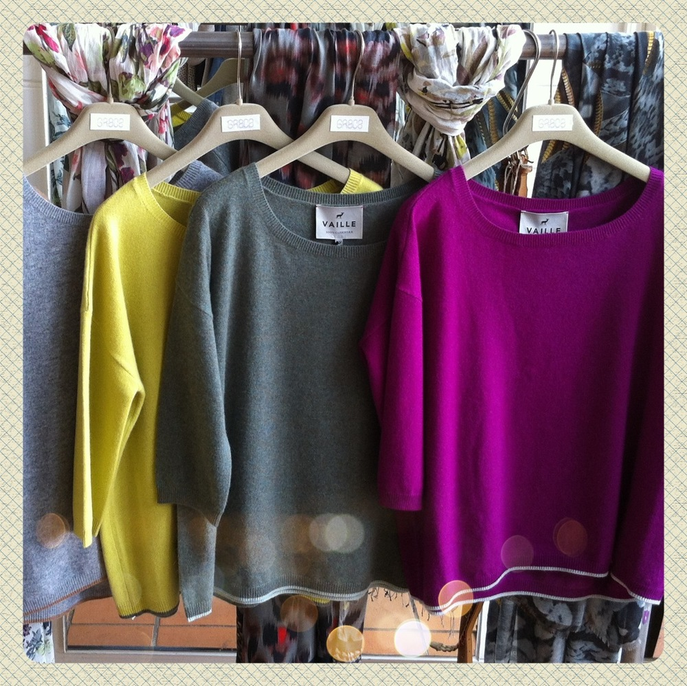 Delicious Vaille cashmere jumpers. They come in five colours and are the perfect layer for right now! $458 at Grace.