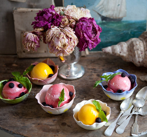 The most delicious looking sorbet as part of a lunch at homewares designer John Derian's beach house in Cape Cod! Find the full story here.
