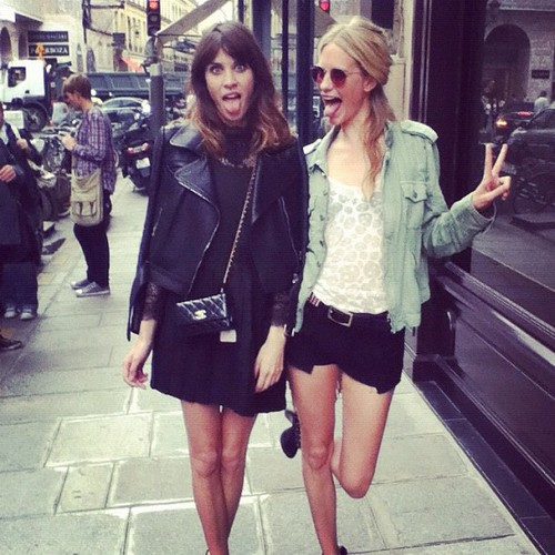 We love Alexa Chung - Spotted here in Carven's leather 'Perfecto' jacket!
