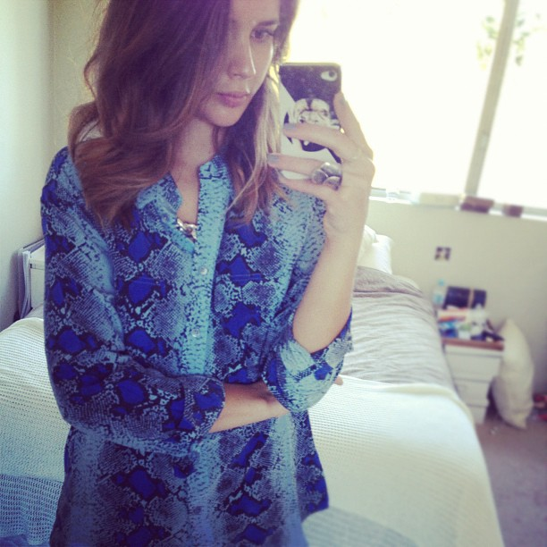 Sara from blog Harper and Harley in brilliant blue Equipment python!