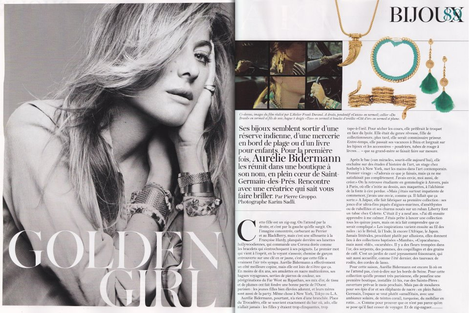 Fabulous French jewelry designer Aurelie Bidermann is featured in this month's edition of Vogue Paris! Click to read more… (If you can read French, of course!)
