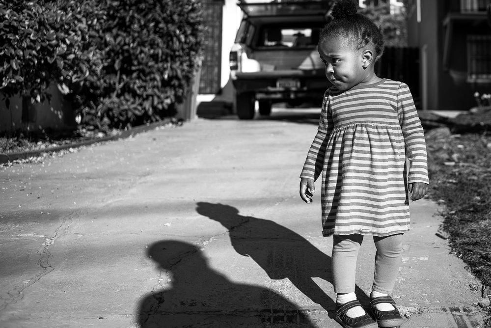 Toddler girl taking a walk around the neighborhood - Slice of Love Photography - Bay Area Family Photographer