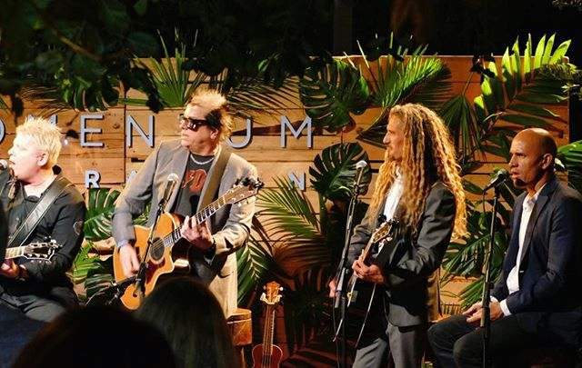 """You say you want a revolution, weeell you know..."" Fun night. @rob_machado @kellyslater @offspring @momentumgeneration"