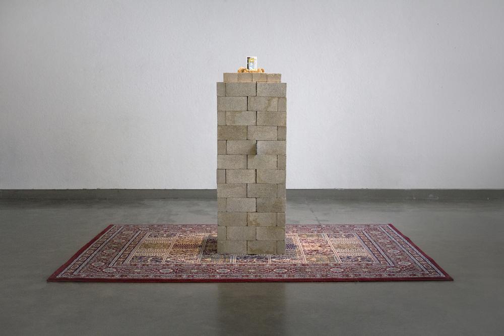 "Monumentum: 65x67x91"", rug, bricks, rocks, tarot cards, 2014."
