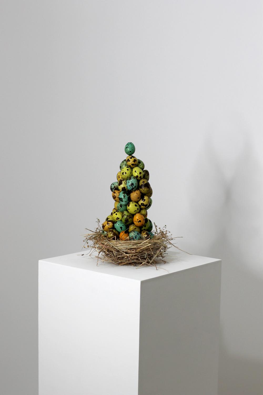 "Endless Impossibilities: 8x8x12"", egg shells, dye, dry grass, 2012."