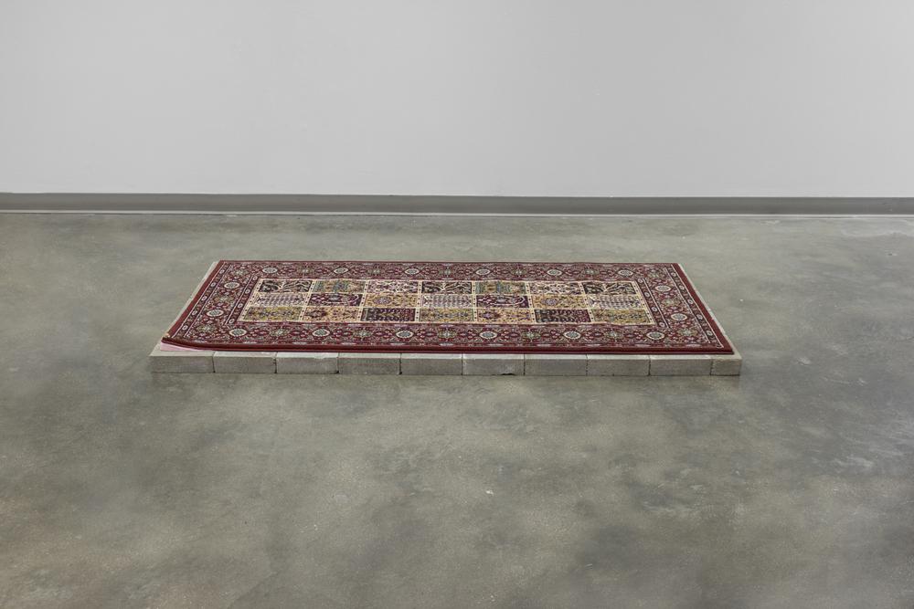 "Untitled: 34x73"", rug, bricks, felt, ceramic, gold luster, 2016."