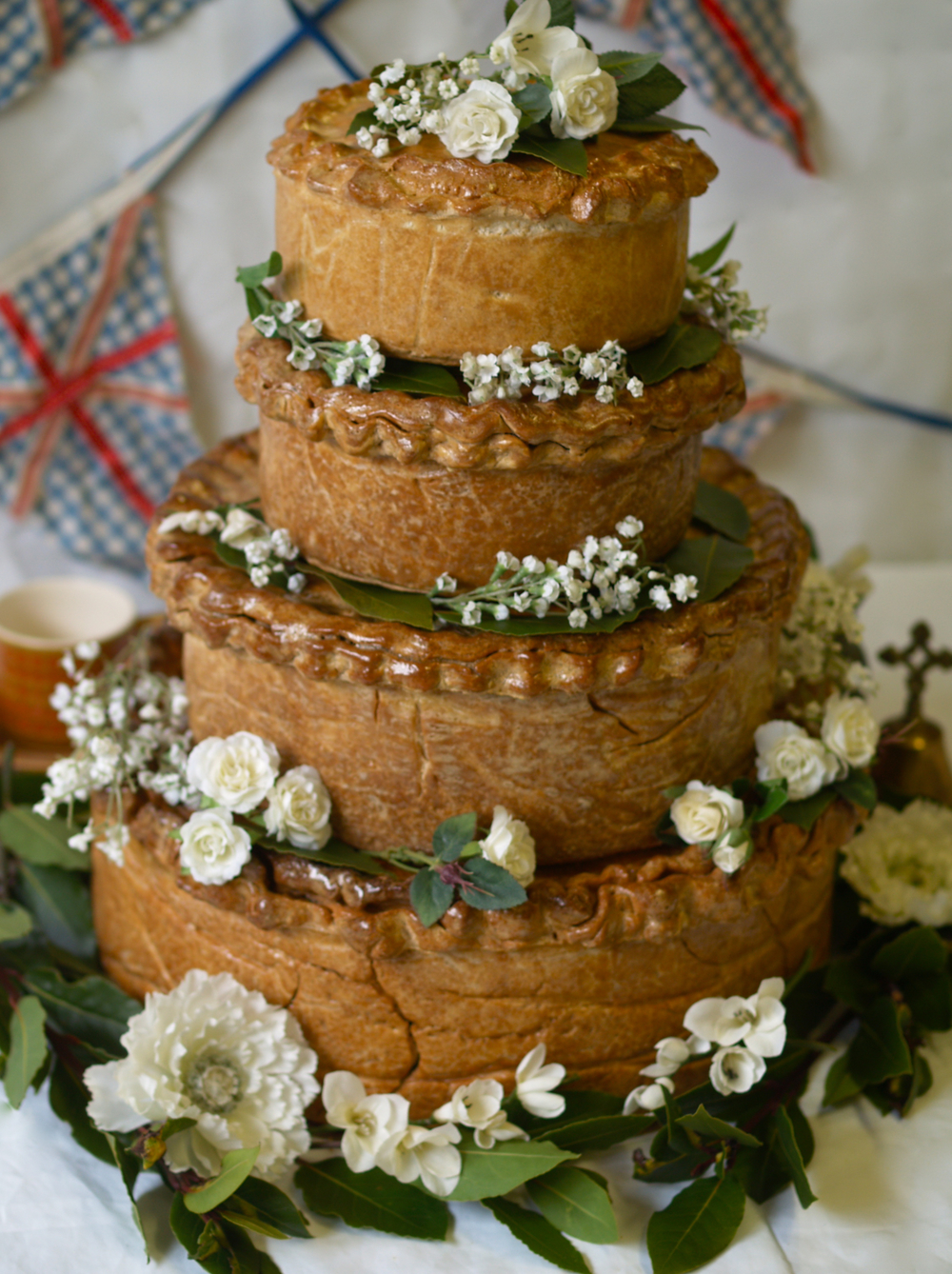 A four tiered wedding Pork Pie - a speciality of Brays Cottage Pork Pies