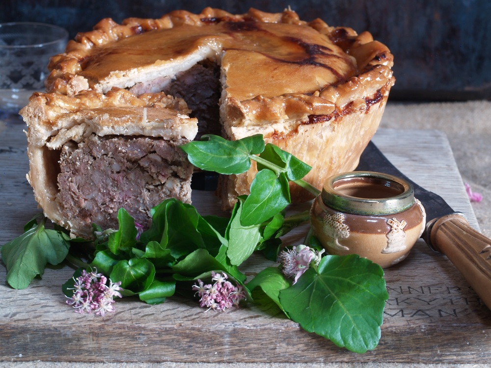 A large, Naked, pork pie