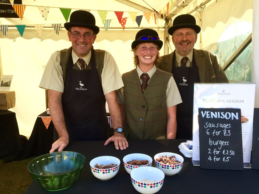 The lady and gentlemen of Holkham estate selling venison