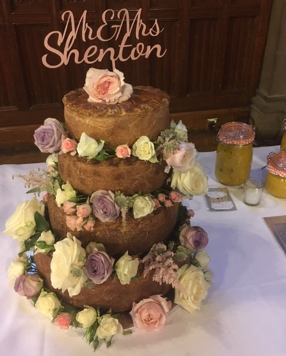 The wedding pie in situ at Manchester Town Hall