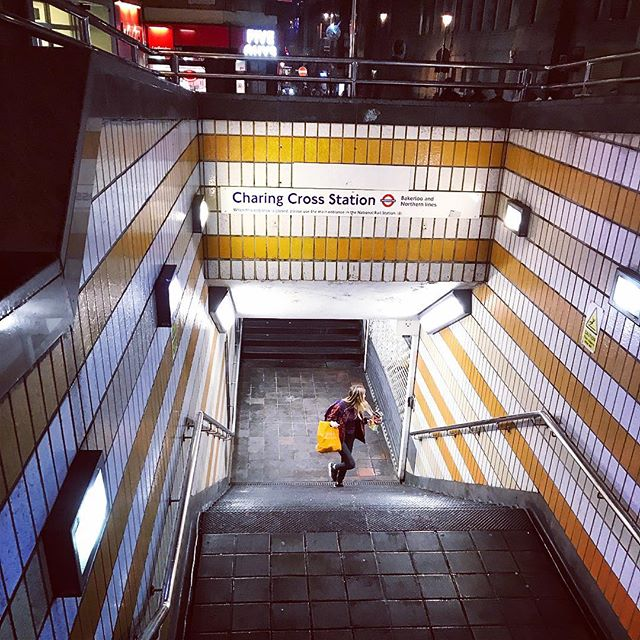 The #depth and #closed #walking #route to #tflers of #london #underground . #light #path #charingcross #station #twist