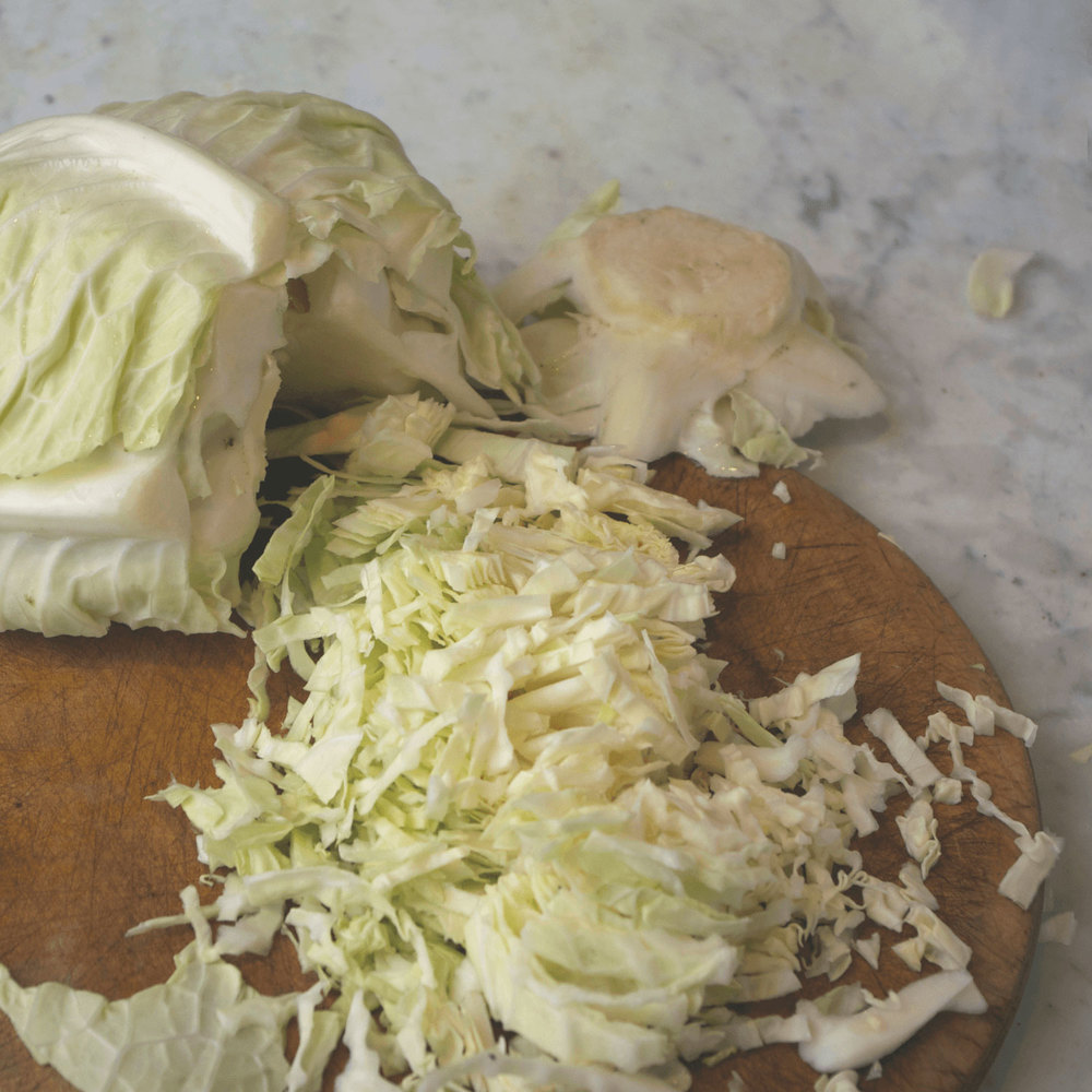 Slice the cabbage up – smaller pieces are best.