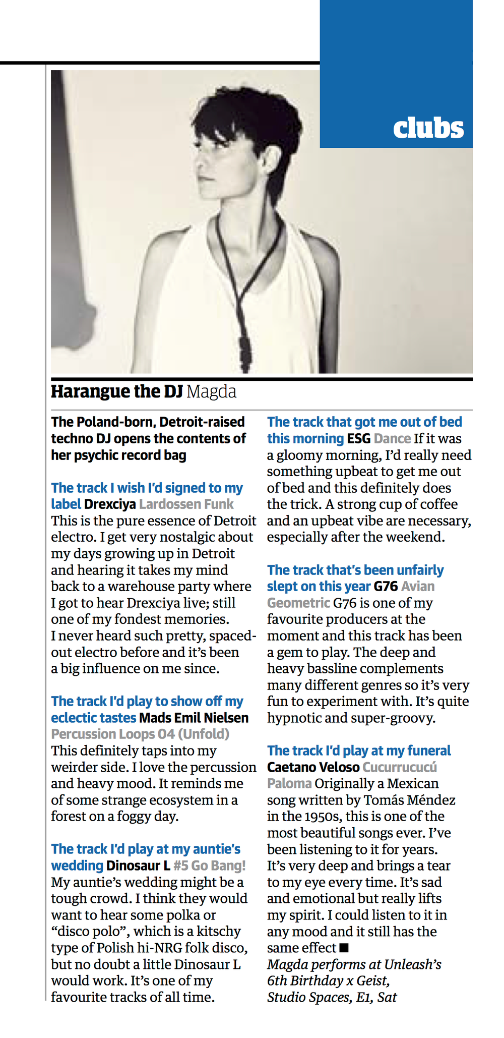 city centric artist features to support event projects - magda harangue the dj feature in guardian guide