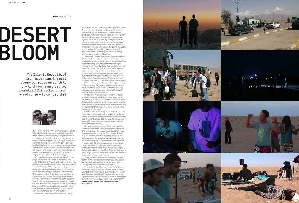 culturally rich narrative based editorial content - blade&beard mixmag feature on their trials and tribulations running events in iran.