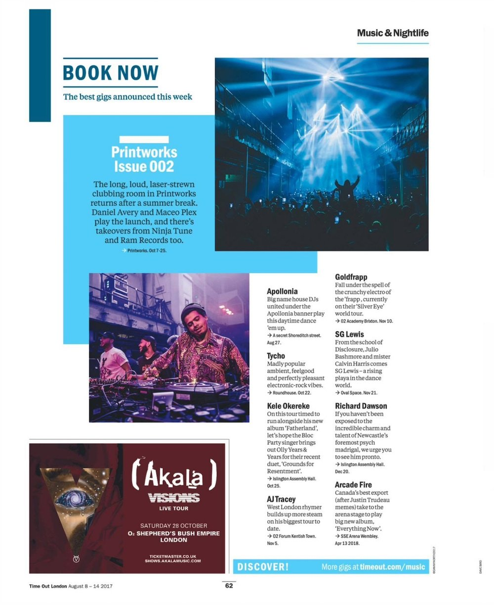region-specific press coverage - timeout london event listing: apollonia @ unleash
