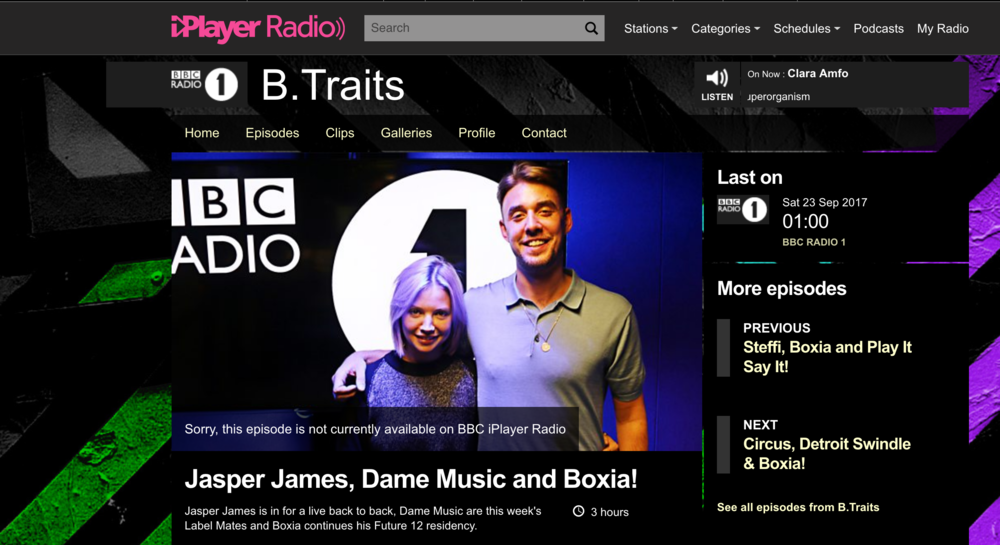 top line radio features - jasper james b2b mix for b.traits' radio 1 show