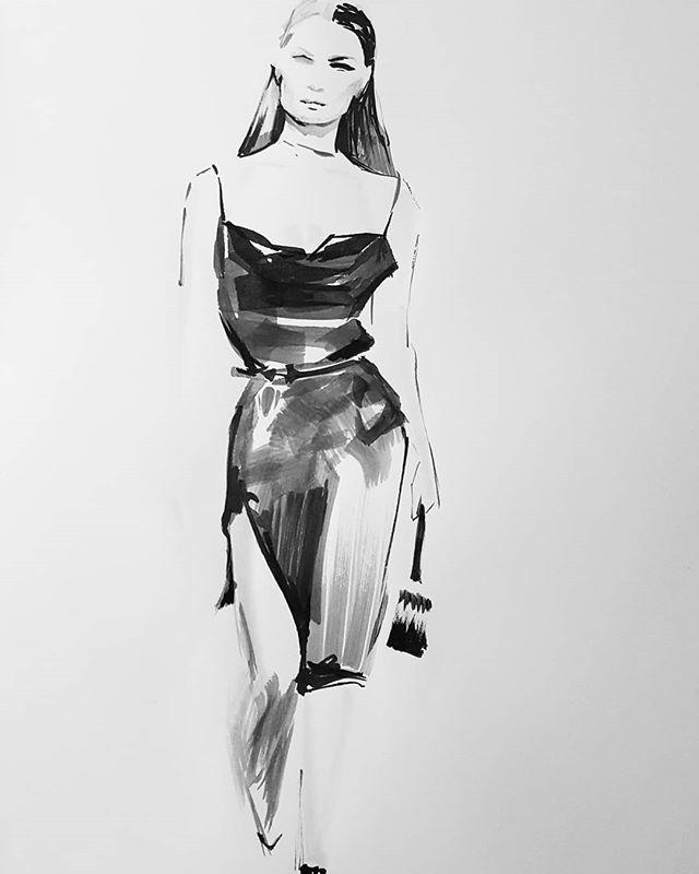 @versace for #inktober23! #inktober2018 #inktober #ink #progressnotperfection #catchingup #fashionillustration #fashion #runway #artistsoninstagram
