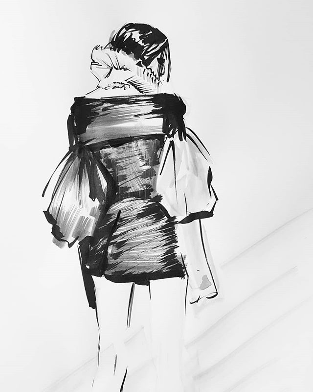 Sturggled with this one but kept it under 20 min. No telling how many times I redid this piece. Anywhooo here is my surprise for #inktober21 @verawanggang #inktober2018 #inktober #ink #fashionillustration #fashion #progressnotperfection #artistsoninstagram #verawang