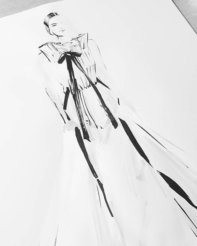 Playin catch up! #inktober19 @oscardelarenta #inktober2018 #ink #artistsoninstagram #progressnotperfection #fashionillustration #fashion #catchingup #inktober