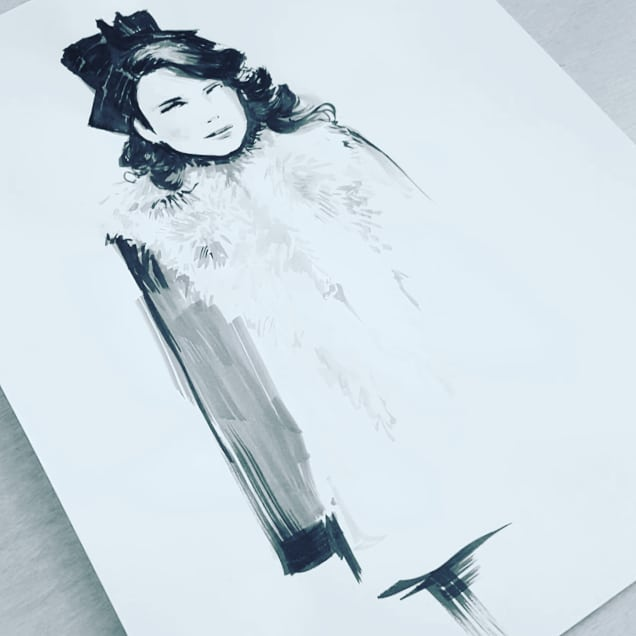 Hands down one of my favorite shows for costume design. #timeinbetween It's a Spanish show I binge watched on netflix last year mainly because I was in love with the designs by #binadaigeler #inktober27 #inktober2018 #ink #catchingup #progressnotperfection #fashionillustration #costumedesign #costumedesigner #artistsoninstagram #artists  More tonight!
