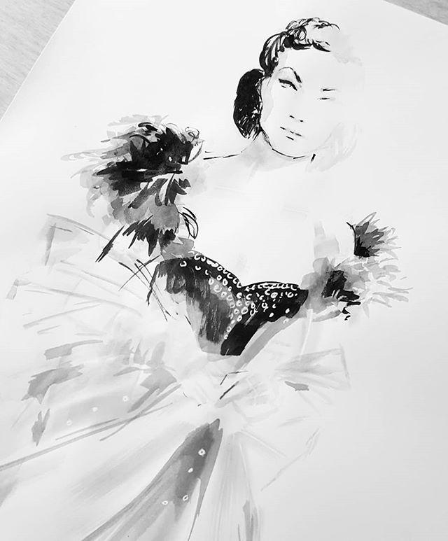 The stunning #vivienleigh as #scarlettohara in a #walterplunkett gown. 😍😍😍 #inktober28 #inktober2018 #ink #fashionillustration #costumedesign #progressnotperfection #catchingup