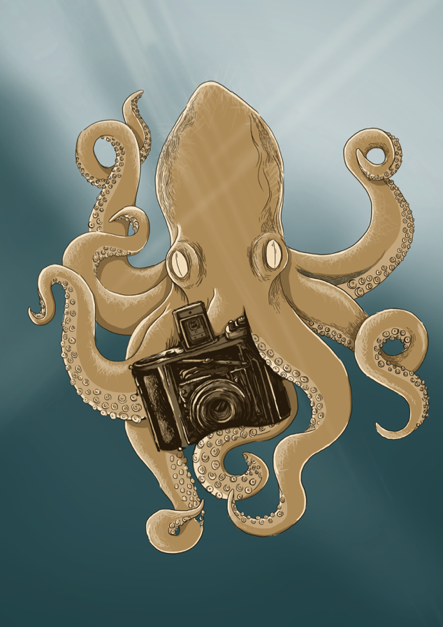 Snap Octopus - A concept poster illustration for a camera brand.