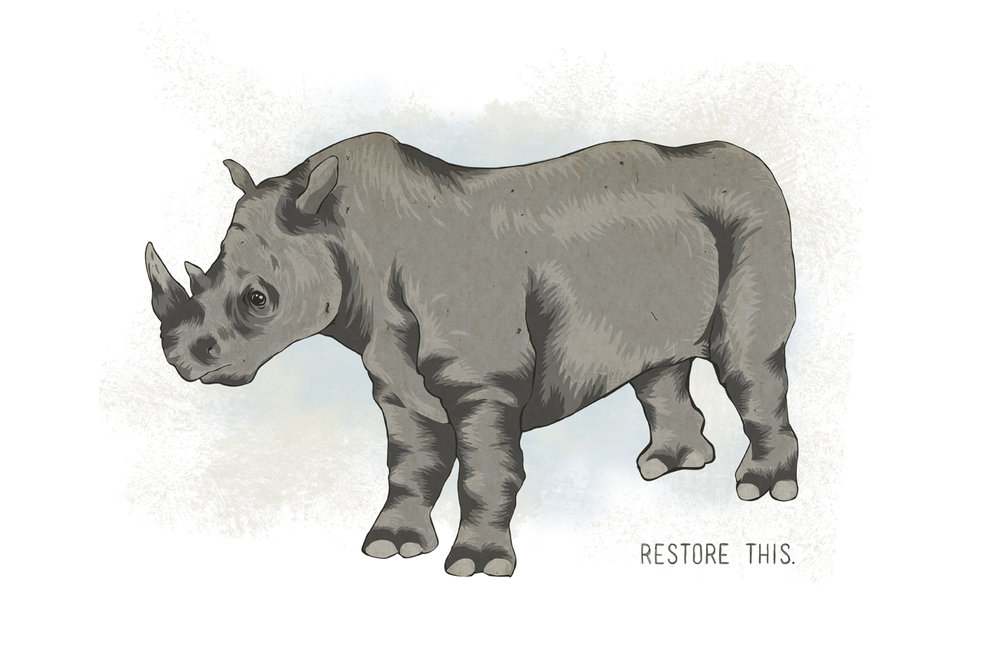 Restore This - Milk & Honey Exhibition -  in memory of rhinos poached. We can't restore this.