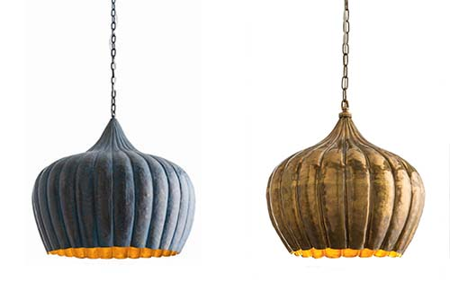 Arteriors sweet peach at 2100 the granville pendant is made of solid brass with a hand hammered surface finished with an oxidized blue unique to each fixture aloadofball Images