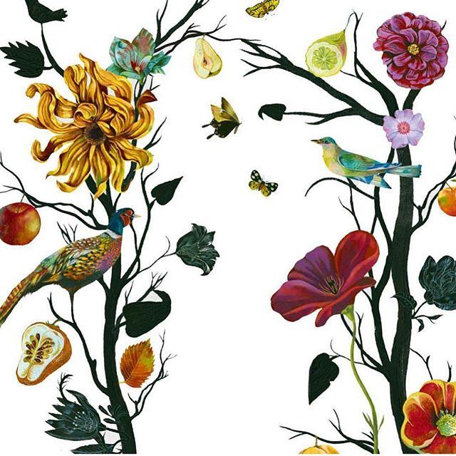 Berlin artist @olafhajek #springart #floralart #wallpaperdesign