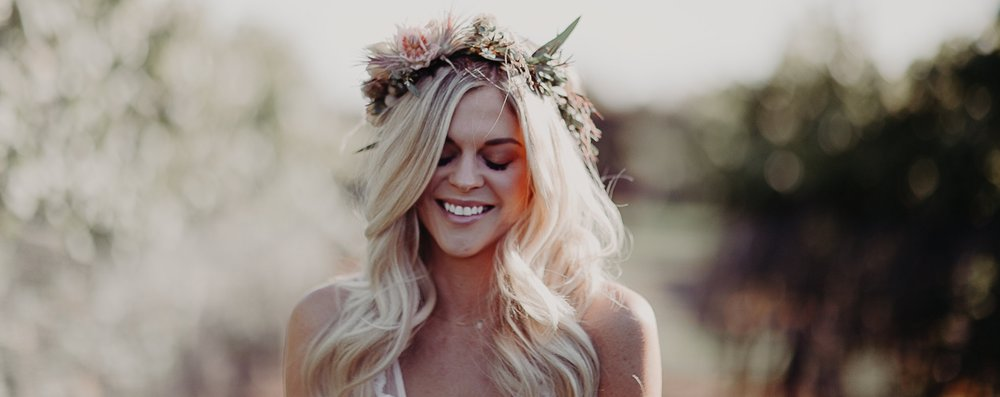 wedding hair wedding makeup beach waves bohemian flower crown