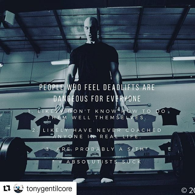It's all about scaling and regressing for the individual... I very often come across clients who were told they can't do a foundational movement. Usually, it's simply a matter of finding the right variation for them. Deadlifts are no different.  #Repost @tonygentilcore (@get_repost) ・・・ Just sayin...