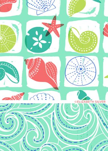 Batik Seashells Pattern ©Elizabeth Silver