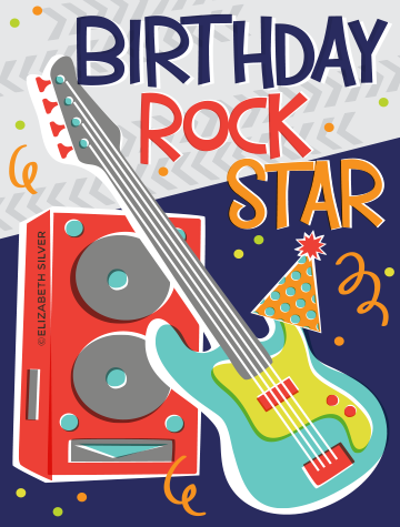 Birth Rock Star Greeting Card ©Elizabeth Silver
